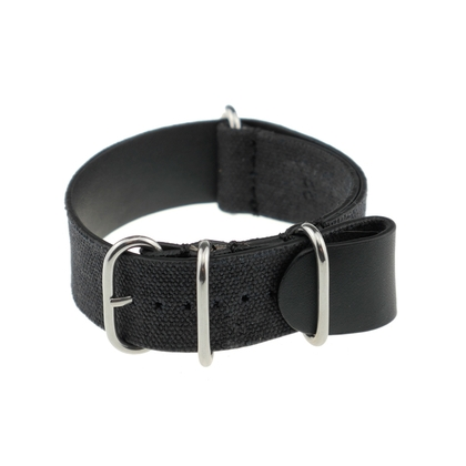 Rios NATO Strap Canvas on Leather Black - SS/Matte/PVD