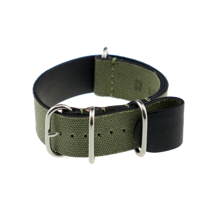Rios NATO Strap Canvas on Leather Green - SS/Matte/PVD