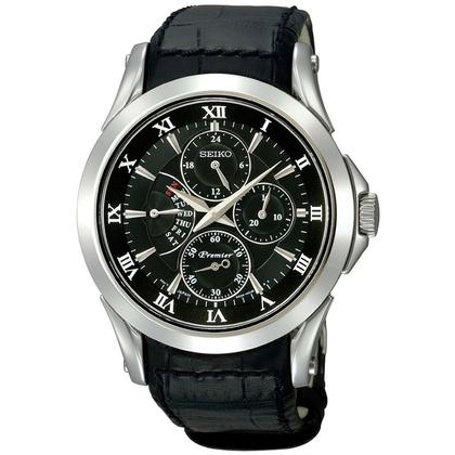 Seiko Premier Watch Strap  SRL021P1 Black Leather