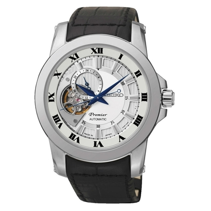 Seiko Premier Watch Strap SSA213J2 Black Leather