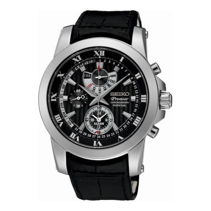Seiko Premier Watch Strap SPC161P2 Black Leather