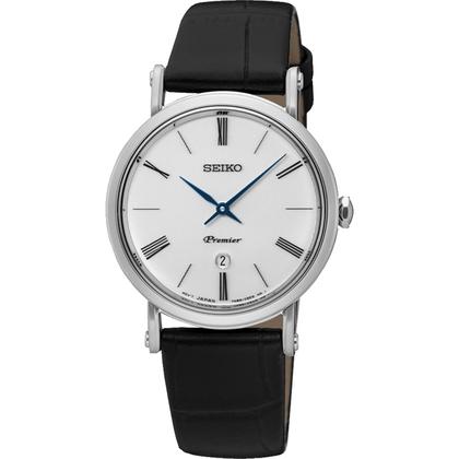 Seiko Premier Watch Strap SXB431P1 Black Leather
