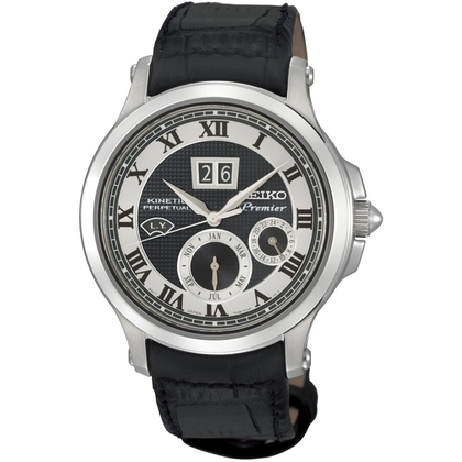 Seiko Premier Watch Strap SNP049P1 Black Leather