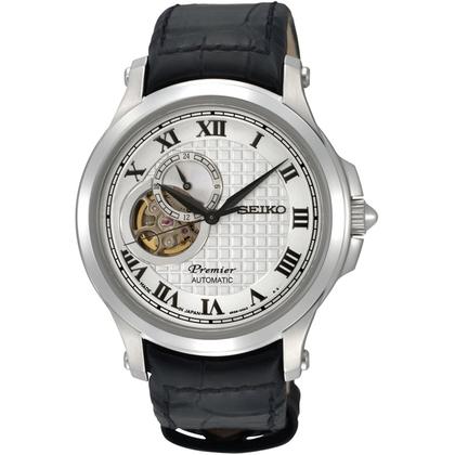 Seiko Premier Watch Strap SSA021J2 Black Leather