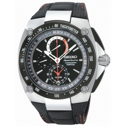 Seiko Sportura Perpetual Watch Strap SPC047P2 Black Leather