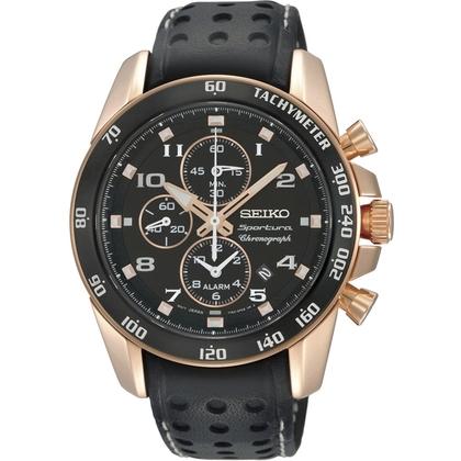 Seiko Sportura Watch Strap SNAE80P1 Black Leather