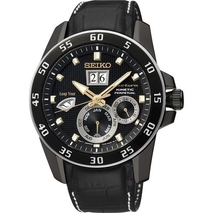 Seiko Sportura Watch Strap SNP089P1 Black Leather