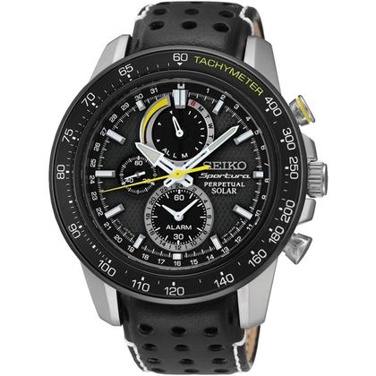 Seiko Sportura/Solar Watch Strap SSC361P1 Black Leather
