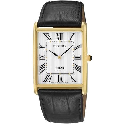 Seiko Solar Watch Strap SUP880P1 Black Leather