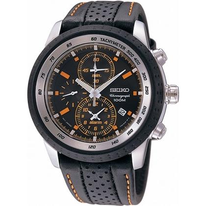 Seiko Chronograph Watch Strap SNAB59P1 Black Leather