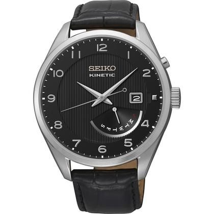 Seiko Kinetic Watch Strap SRN051P1 Black Leather