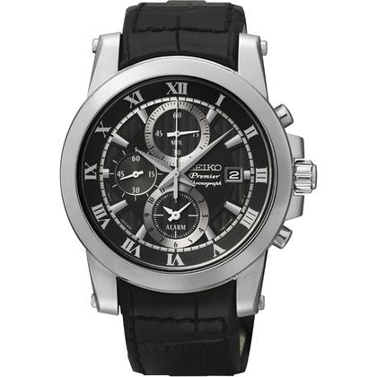 Seiko Premier Chronograph Watch Strap SNAF31P2 Black Leather