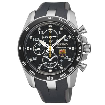 Seiko Sportura FC Barcelona Watch Strap SNAE93P1 Black, Gray Rubber