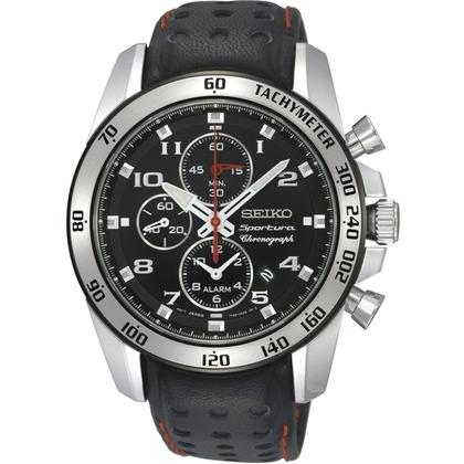 Seiko Sportura Watch Strap SNAE65P1 Black Leather