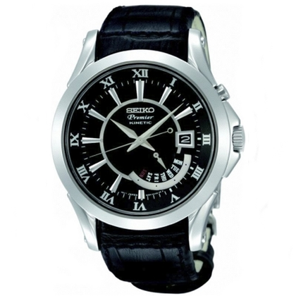 Seiko Premier Kinetic Strap SRN005P1 Black Leather