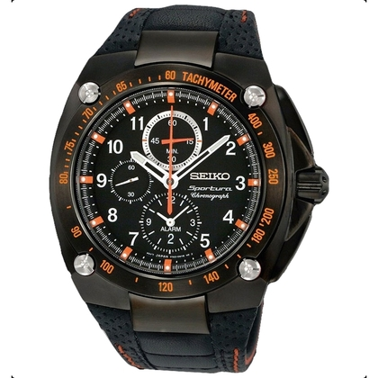 Seiko Sportura Watch Strap SNAE37P1 Black Leather