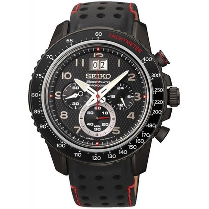 Seiko Sportura Watch Strap SPC141 Black Leather