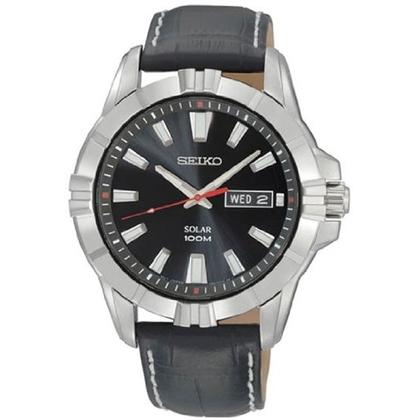 Seiko Solar Watch Strap SNE161 Black Leather