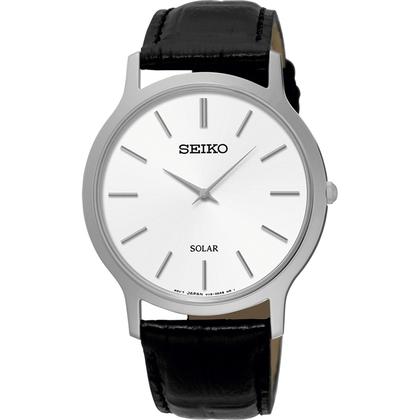 Seiko Solar Watch Strap SUP873 Black Leather