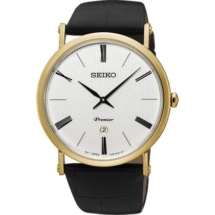 Seiko Premier Watch Strap SKP396 Black Leather