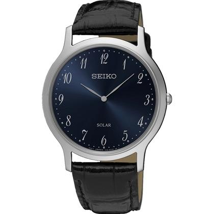 Seiko Solar Watch Strap SUP861 Black Leather