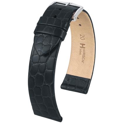 Hirsch Sobek Watch Band Crocograin Black