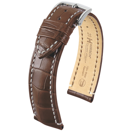 Hirsch Viscount I Louisiana Alligator Skin Watch Band 100m WR Semi-Matte Brown