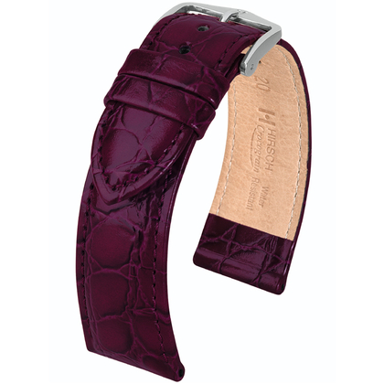 Hirsch Crocograin Watch Band Purple