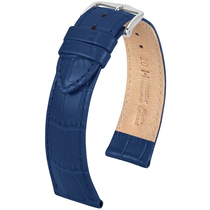 Hirsch Louisianalook Alligatorprint Watchband Blue