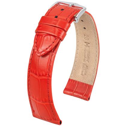 Hirsch Louisianalook Alligatorprint Watchband Red