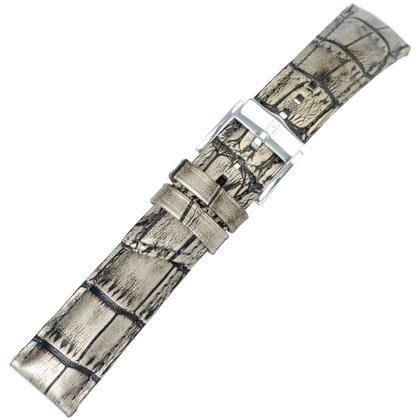 Hirsch Princess Pretiosa Watchband Alligatorgrain Silver