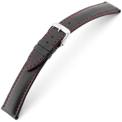 Rios Smart Watch Strap Cowhide Black with Red Stitching