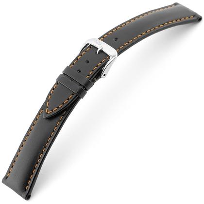 Rios Smart Watch Strap Cowhide Black with Orange Stitching