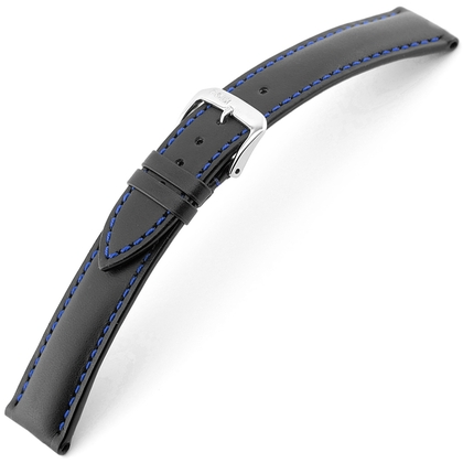 Rios Smart Watch Strap Cowhide Black with Blue Stitching