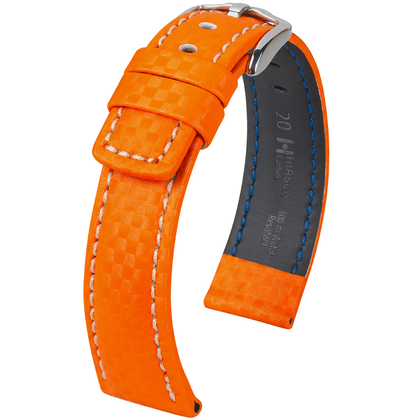 Hirsch Carbon Watch Band 100 m Water-Resistant Orange
