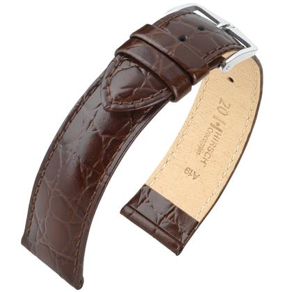 Hirsch Crocograin Watch Band Brown