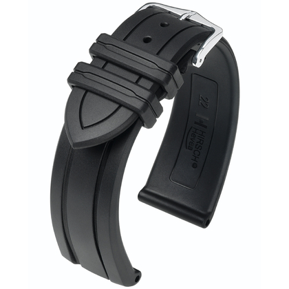 Hirsch Hevea Watch Band Caoutchouc Black