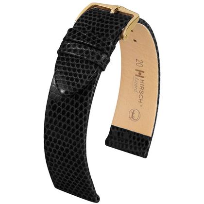Hirsch Lizard Watch Band Premium Lizardskin Black