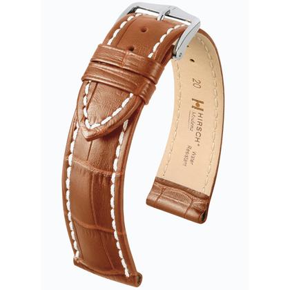 Hirsch Modena Calfskin Watchband Alligatorgrain Honey