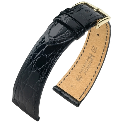 Hirsch Genuine Croco Watch Band Crocodile Skin Shiny Black