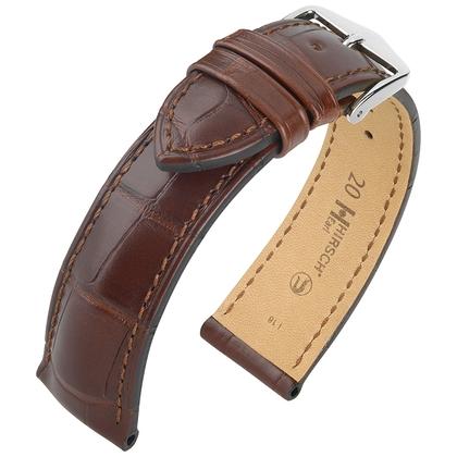 Hirsch Earl Louisiana Alligator Skin Watch Band Semi-Matte Brown