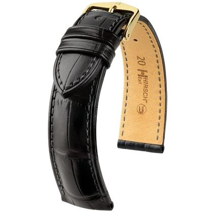 Hirsch Earl Louisiana Alligator Skin Watch Band Semi-Matte Black