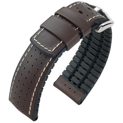 Hirsch Tiger Performance Collection Black/Brown Caoutchouc/Leather 300m WR