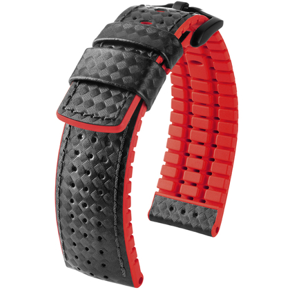 Hirsch Ayrton Performance Collection Black/Red Leather/Rubber 300m WR