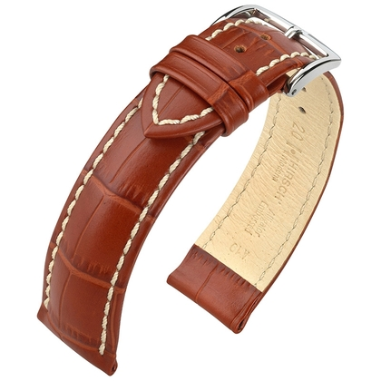 Hirsch Modena Calfskin Watchband Alligatorgrain Golden Brown
