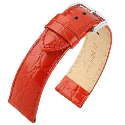 Hirsch Crocograin Watch Band Red