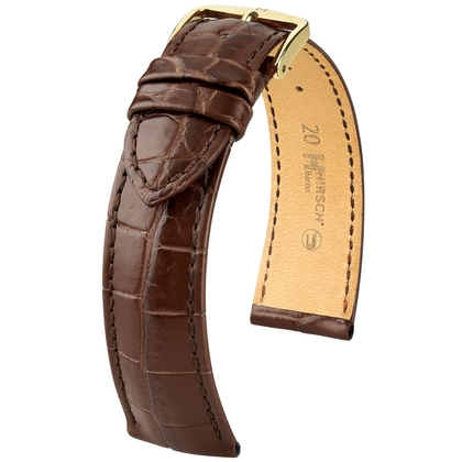 Hirsch Baron Nile Crocodile Skin Watch Strap Brown Matte