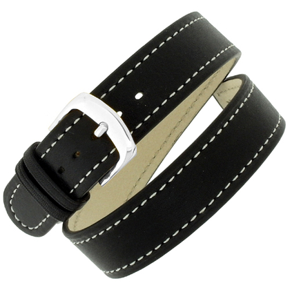 Hirsch Grace 'Double Tour' Double Watch Strap Calfskin Black