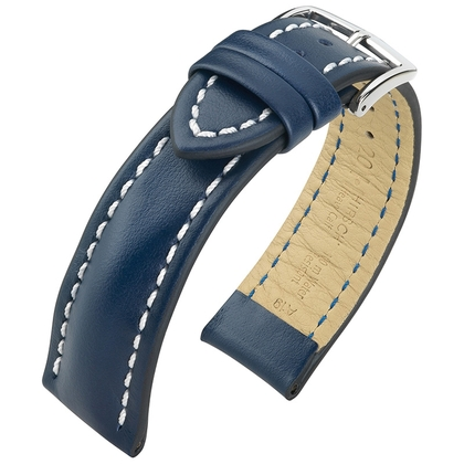 Hirsch Heavy Calf Water-Resistant Watch Band Blue