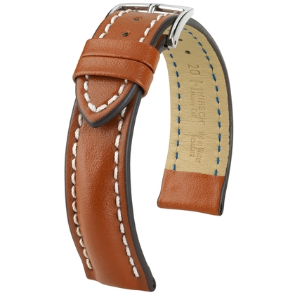 Hirsch Heavy Calf Water-Resistant Watch Band Golden Brown